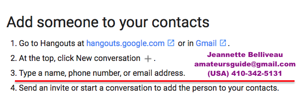 Contacts Google Hangouts